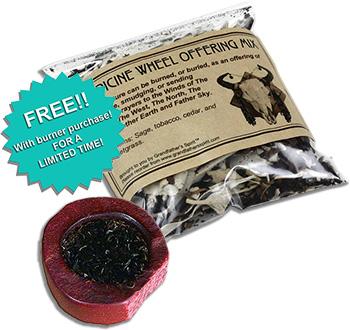 Catlinite Smudge Burner with Medicine Wheel Offering Mix